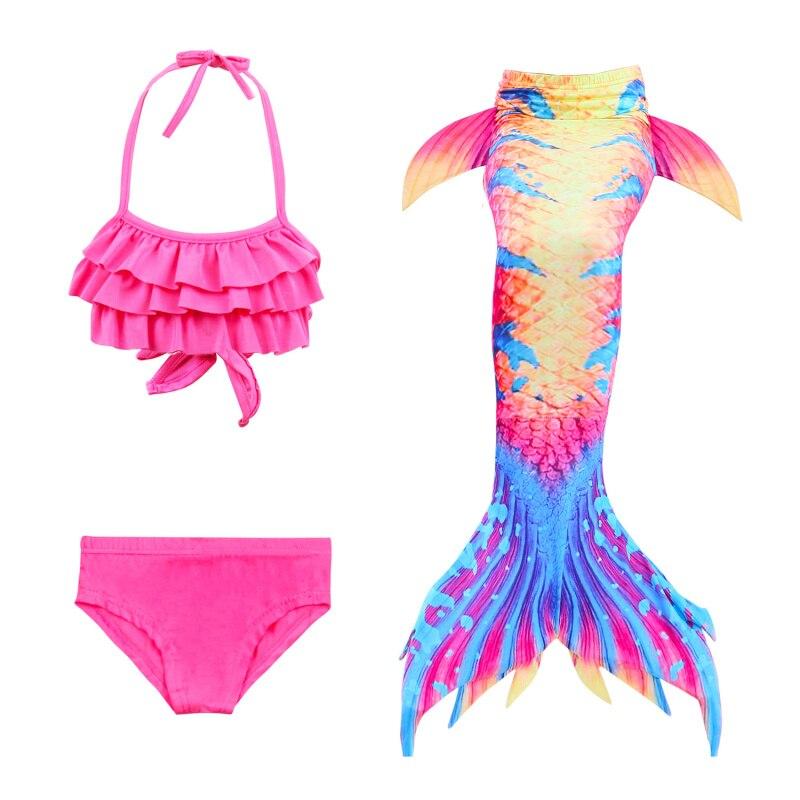 3 pièces sirène maillot de bain hauts pour filles gilet natation pantalon queue nageoires roman 3D échelle d'impression (110-150 cm) Cosplay Animal fée robe