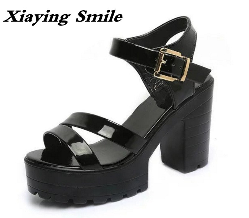 Xiaying Smile New Summer Woman Sandals Shoes Women Pumps Platform Fashion Casual Square Heel Buckle Strap Thick Sole Women Shoes xiaying smile summer woman sandals fashion women pumps square cover heel buckle strap bling casual concise student women shoes