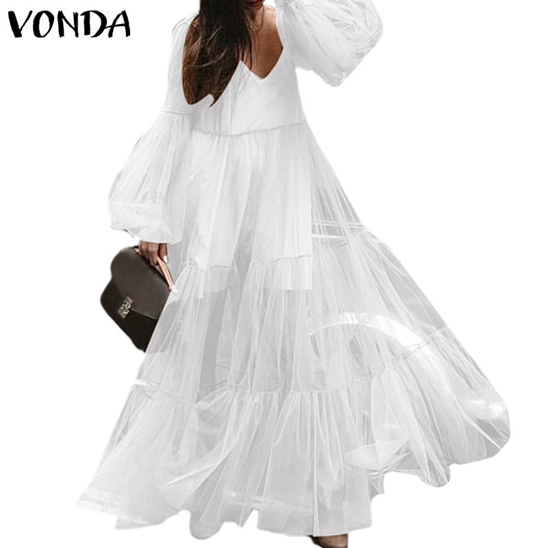 Плюс 2019 женское платье-макси цельное повседневное пляжное платье с высокой талией вечернее платье VONDA винтажный комбинезон летний сексуаль...