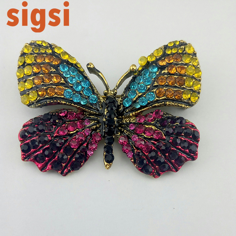 2017 45mm jewellry accessories vintage butterfly insert brooch safety pin from online shop