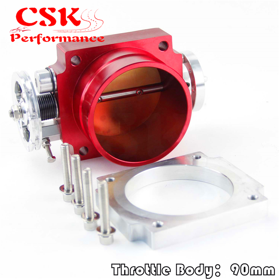 Universal 90MM VQ35TPS Throttle Body <font><b>Intake</b></font> <font><b>Manifold</b></font> <font><b>RB25DET</b></font> RB26DET GTS RED image