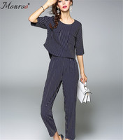 Monroo Women Striped Clothes O-Neck Pullover Half Sleeve Plus Ankle-Length Pants Elastic Waist Business Office Work Clothing Set