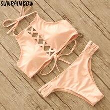 Bikini Women Bandage Strap Bikini Set 2016 Sexy Beach Swimwear Women Swimsuit Sweet Pink Girls Biquinis Maillot De Bain