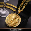 Fashion 24K Gold Plated Statement Necklace Braided Rope Chain Rotary Floating Egypt Pharaoh/Last King Necklaces hiphop jewelry