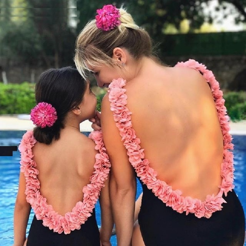 Sexy 3D Flower Strap Backless Mother Daughter Family Matching Swimwear Women Girl Floral One Piece Swimsuit
