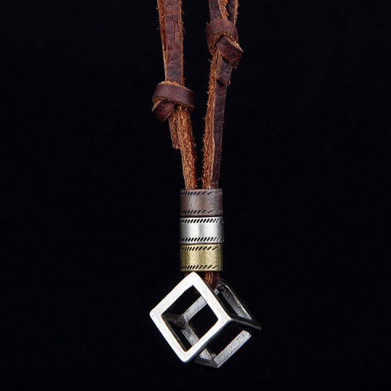 100% Genuine Leather Men Necklaces Cross Pendants Punk Vintage Adjustable Brown