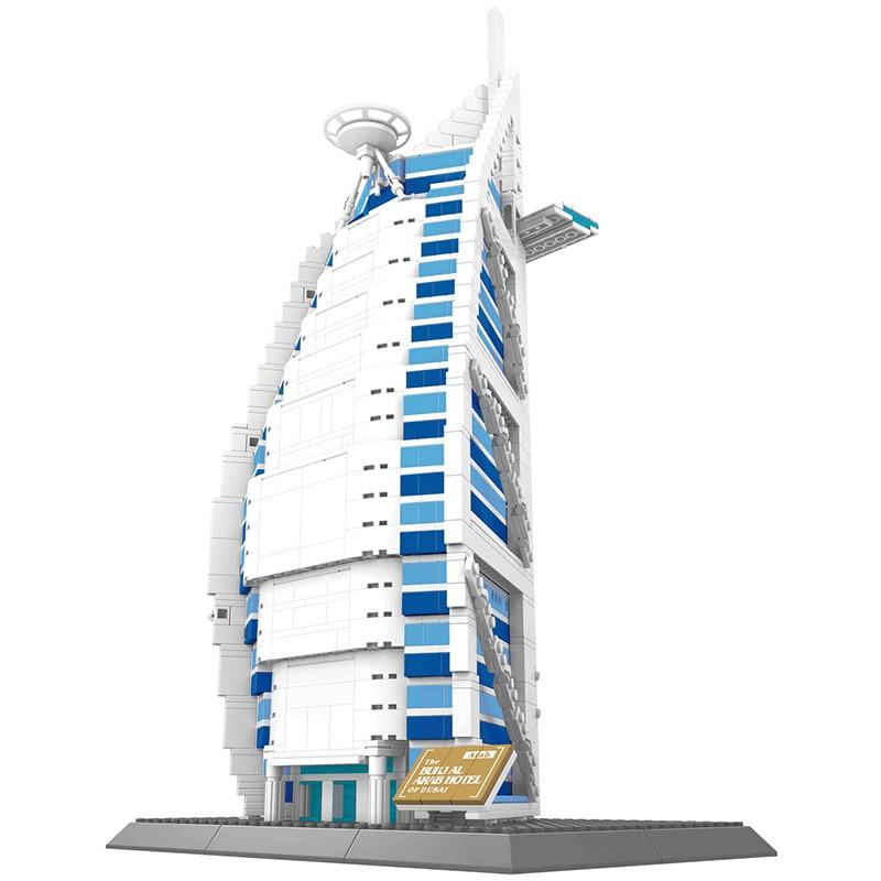 Wange 8018 Famous Architecture Series The Burj Al Arab 3D Model Building Blocks Classic Educational Toys Compatible brinquedos wange 5210 architecture series the notre dame de paris model building blocks set classic landmark education toys for children
