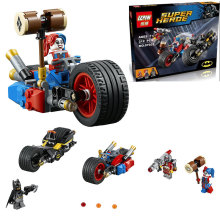 LEPIN Super Heroes Gotham City Cycle Chase Bat cycle Building Block Set Batman Harley Quinn Minifigures legoes 76053 Compatible
