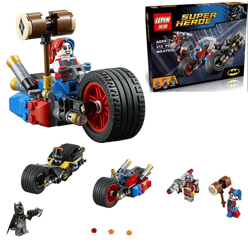 LEPIN Super Heroes Gotham City Cycle Chase Bat cycle Building Block Set Batman Harley Quinn Minifigures