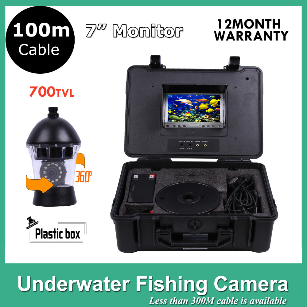 100M Cable Underwater Fish Finder 7Inch Video Camera 12Pcs LED Camera Ocean/Ice/Lake  fishing camera  Rotate 360 Degree 20m cable underwater fishing camera fish finder with 1 3 sony ccd effio e 12pcs white leds camera night vision rotate 360 degree