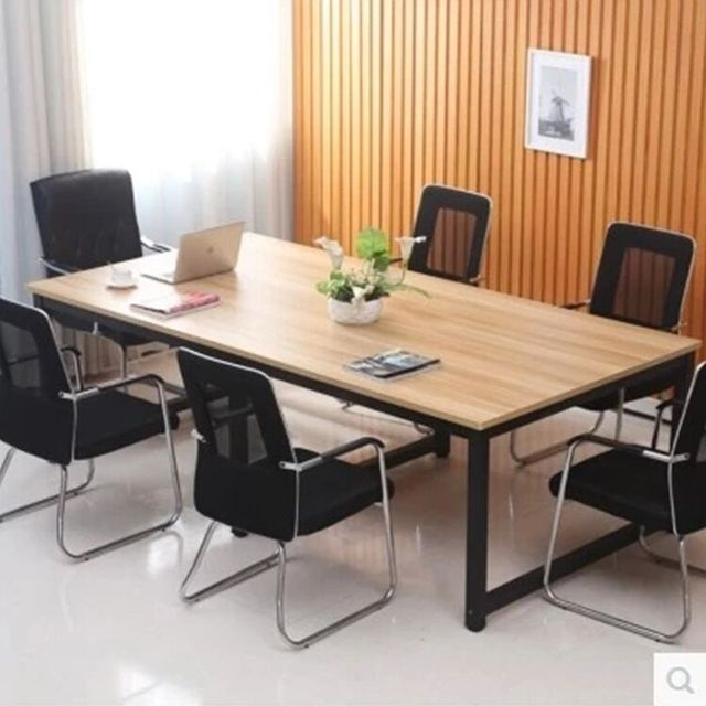 Simple Modern Wrought Iron Wood Conference Table Desk Training - Desk with meeting table