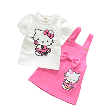 hot deal buy girls clothing sets kitty summer fashion style cartoon kitten printed t-shirt + strap dress cartoon dress 2pcs girls clothes set