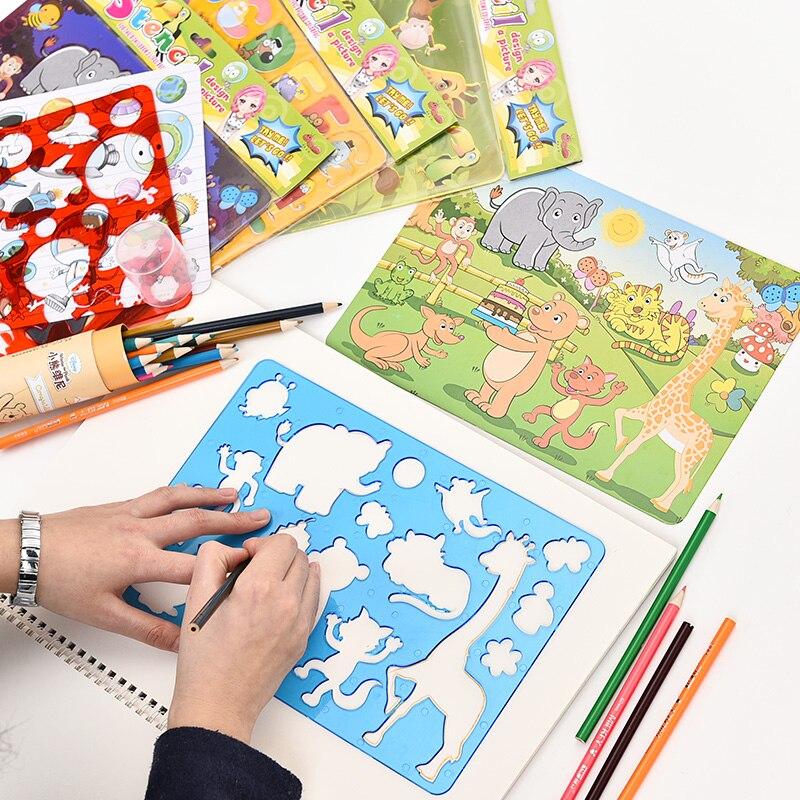 5 шт./лот детский пластиковый шаблон для рисования с рисунками из мультфильмов с полыми маленькими животными, комплект линейки моделей для д...
