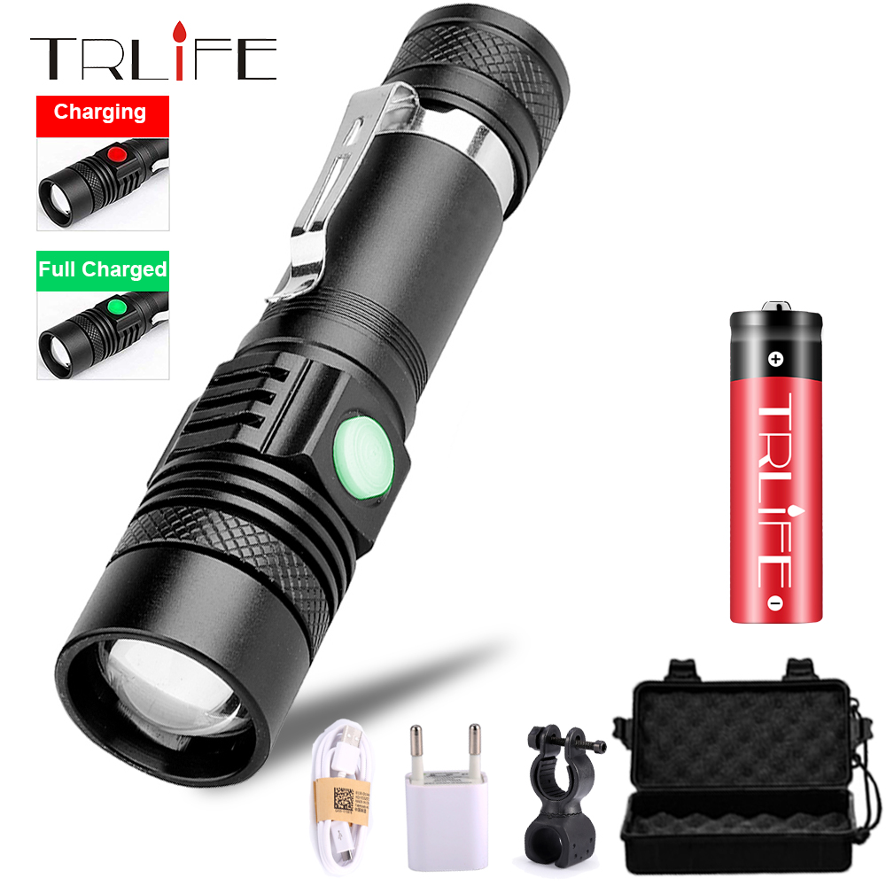 USB Rechargeable T6 LED Flashlight 8000 Lumens Waterproof LED Flash Light Hand Torch Lamp Lantern 18650 LED With Power Reminder