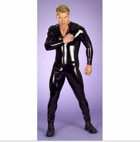 Faux PVC Leather Latex Fetish Costumes For Men Sexy Jumpsuit Nightclub Wear Gay Sex Dress Adult Party Apparel Catsuit M-2XL