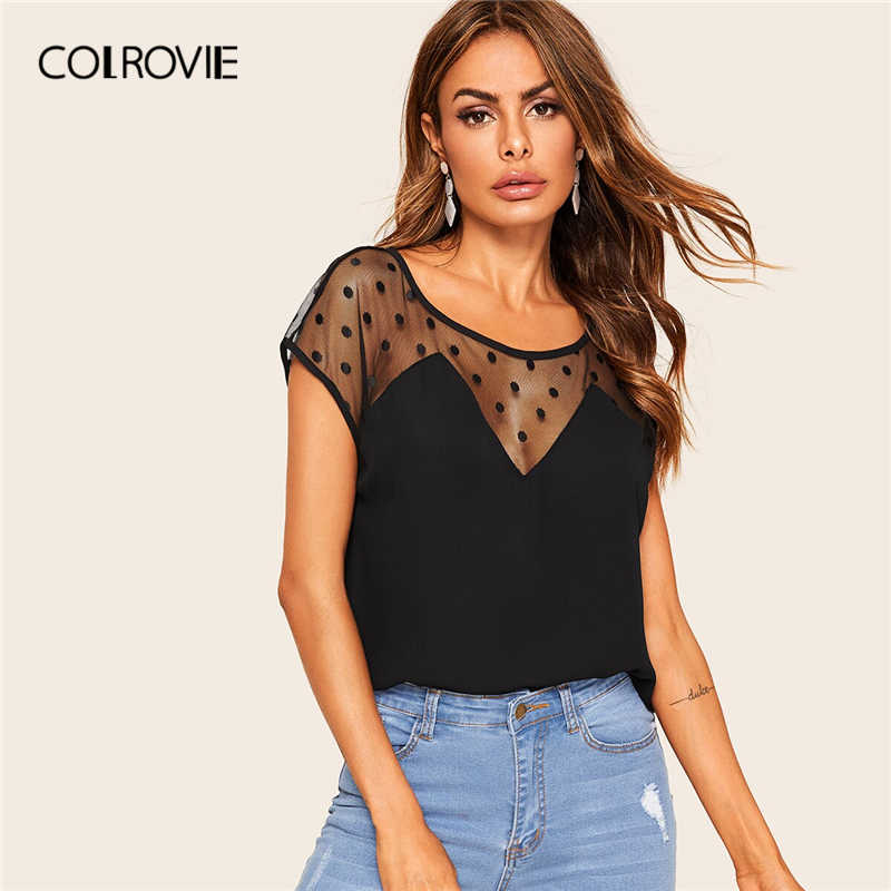 COLROVIE Black Sheer Dobby Mesh Tunic Elegant Top Women Blouse Shirt 2019 Summer Workwear Sexy Shirts Office Ladies Blouses