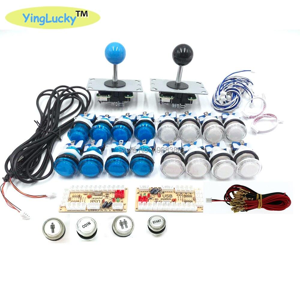Kit de bricolage d'arcade Joystick zéro retard bouton-poussoir LED + Joystick + encodeur USB + harnais de fil contrôleur USB pour Arcade Mame jeu d'arcade