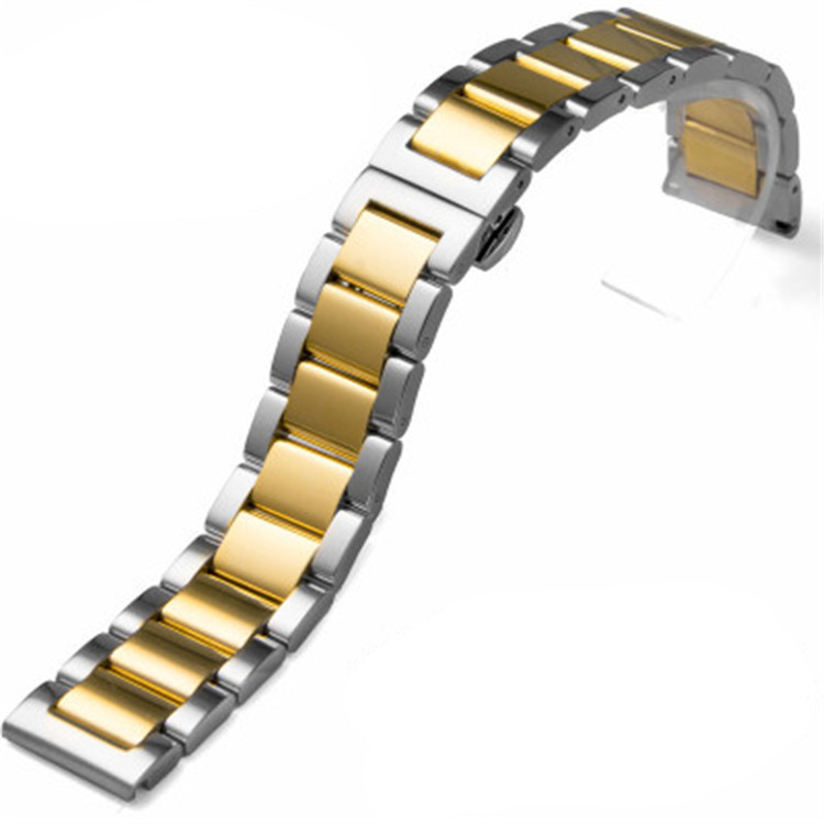 Three bead solid stainless steel strap for Huawei B5 double press butterfly clasp metal sports watch chain accessories 16 26mm in Watchbands from Watches