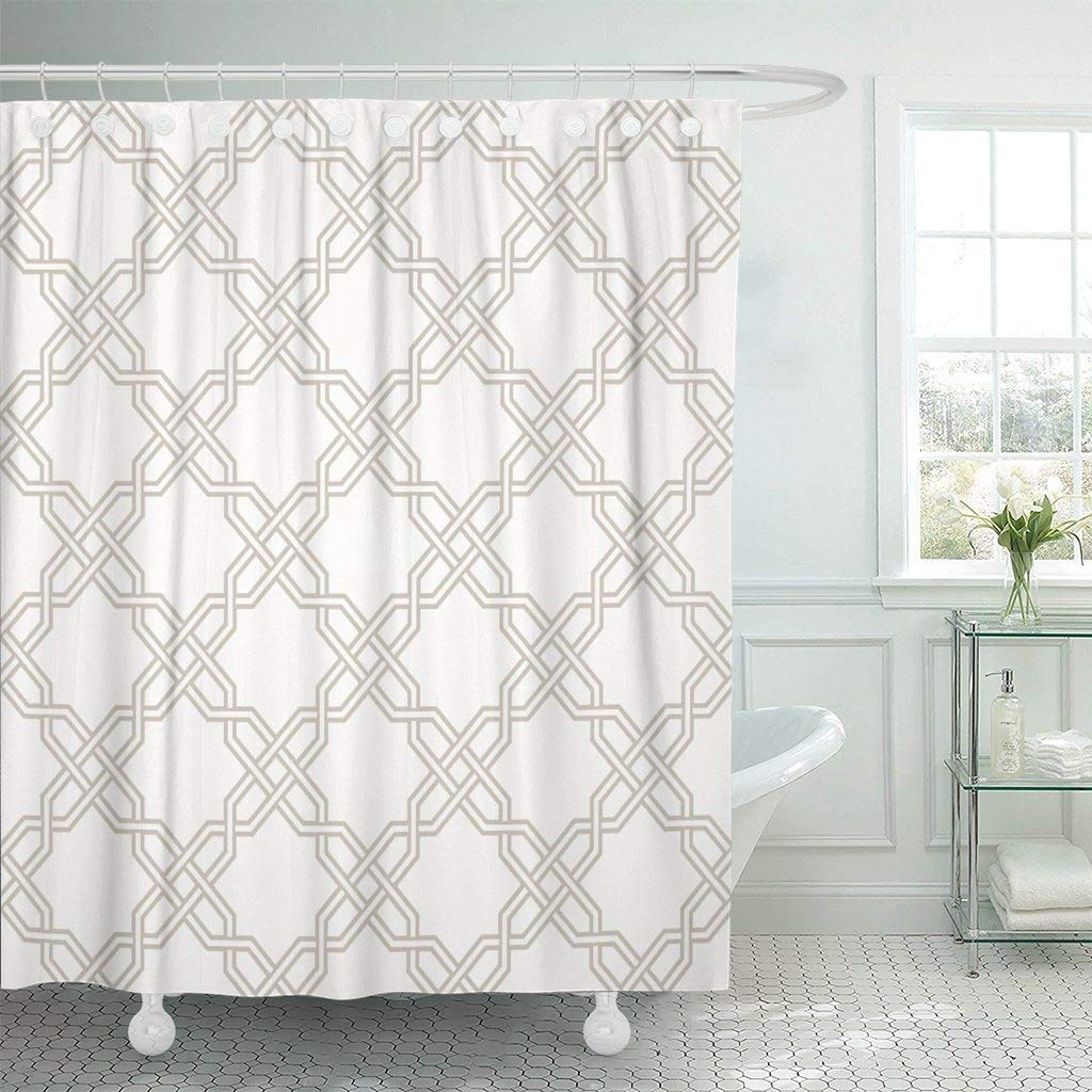 Shower Curtain Tangled Modern Pattern Based On Traditional Oriental Two  Colors Easy To Recolor Bathroom
