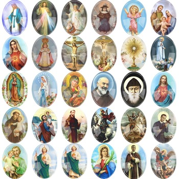 6~20pieces Mixed  Oval Glass Cartoon Religious Oval Cabochon Accessory Glass DIY Jewelry Saint Rita Accessories 4size