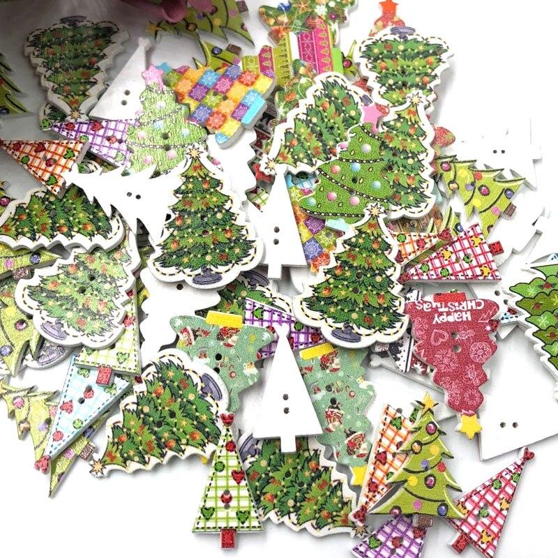 25Pcs Wooden Buttons Christmas Tree Heart DIY Decor Scrapbooking Crafts Mixed