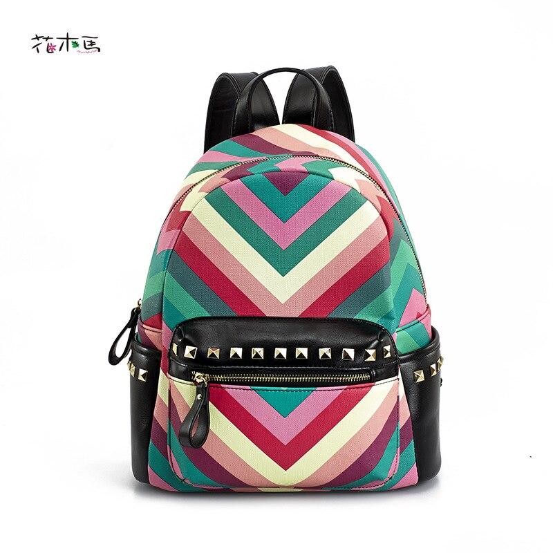 ФОТО 2016 Printing Backpack Mochilas Kpop The New South Korean Fashion Bag Mokuba Rainbow Decorative Rivets Pu Backpack Free Agent