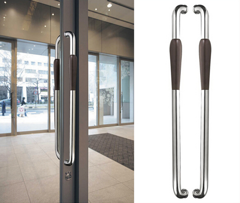 Entrance Door Handle Polished 304 Stainless Steel & Walnut-wood Pull Handles For Wooden/Glass/Metal Front Doors 46*800mm HM88 entrance door handle high quality stainless steel pull handles pa 121 38 500mm for glass wooden frame doors