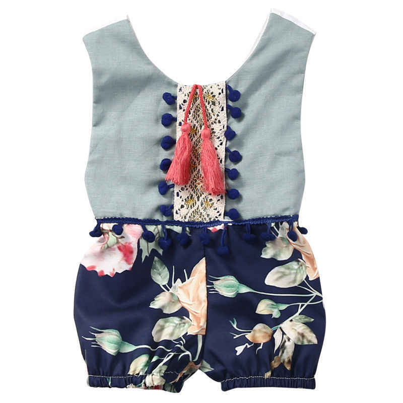 Cotton Newborn Baby Girl Kids Romper Floral Sleeveless Backless Tassels Jumpsuit Playsuit Clothes Outfits Summer Clothes Girls