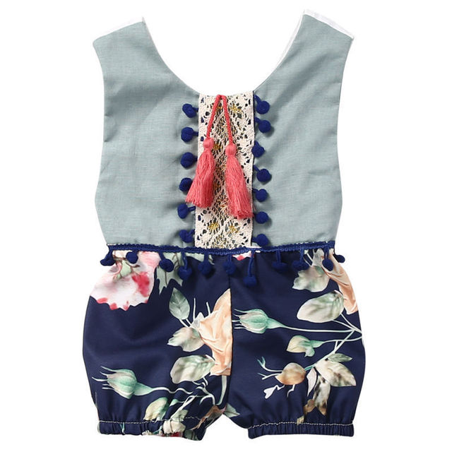 3e5ad391b222 Cotton Newborn Baby Girl Kids Romper Floral Sleeveless Backless Tassels  Jumpsuit Playsuit Clothes Outfits Summer Clothes