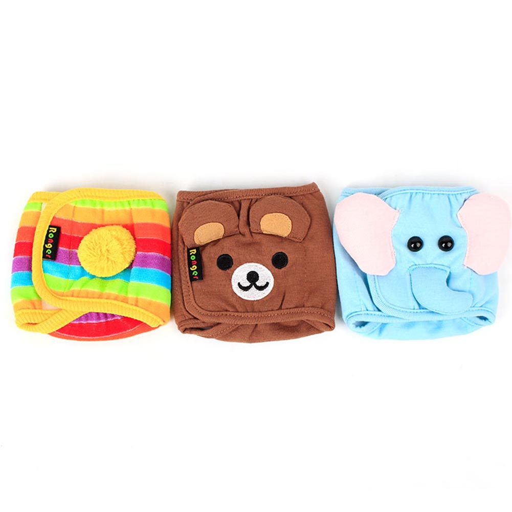 S M L Cartoon Dog Puppy Diaper Washable MALE Belly Band for Small and Medium Dog Courtesy Pants for Pets Anti-harassment