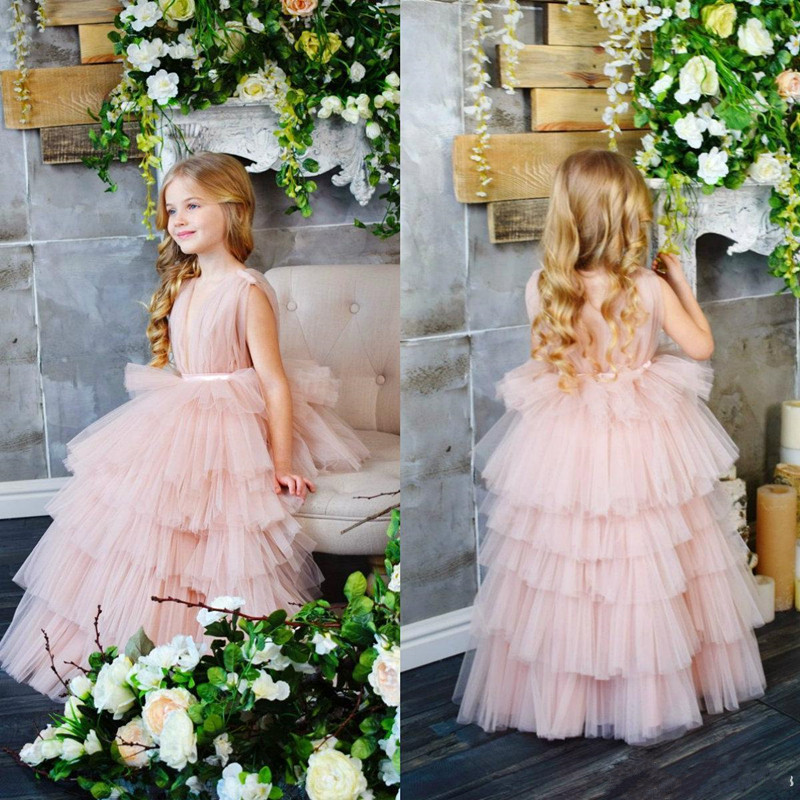 New Coming Tiered Tulle Princess Dress Ankle -Length Sleeveless Custom Made Kids Prom Dress Ruffles Long Pageant Gowns VestidosNew Coming Tiered Tulle Princess Dress Ankle -Length Sleeveless Custom Made Kids Prom Dress Ruffles Long Pageant Gowns Vestidos