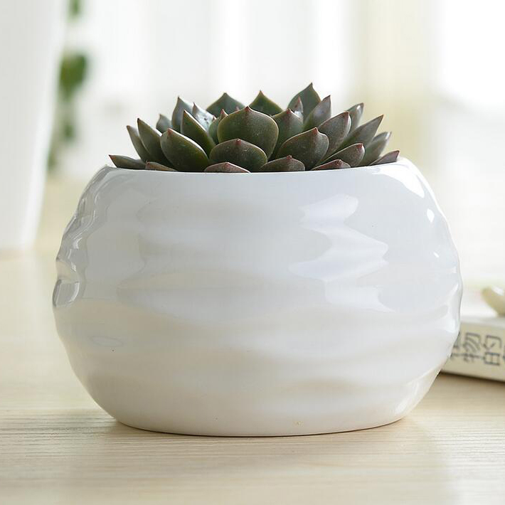 Creative Zakka Potted Flower Pot Round White Ceramic
