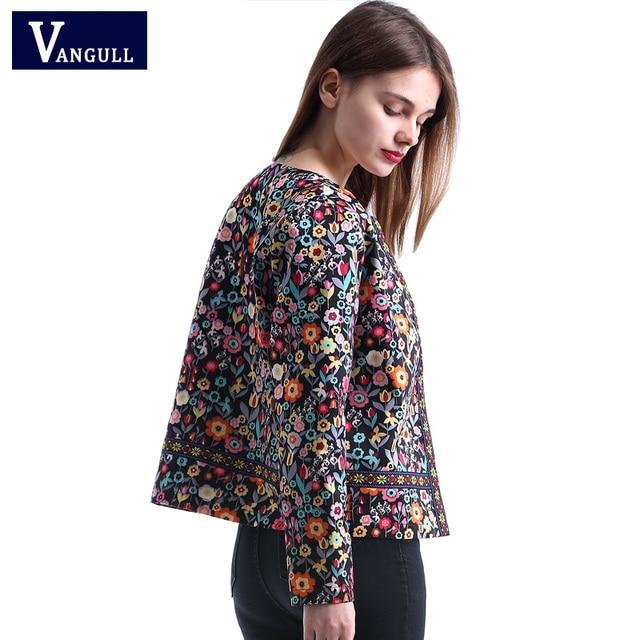 Vangull 2018 New Spring Botanical Jacket Autumn Basic Jacket for Women Multicolor Collarless Elegant Jackets and Coats Feminina 3