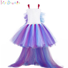 16ab536734e Princess girl unicorn bustle tutu dress girls rainbow birthday party photo dresses  kids perform costume for special holidays