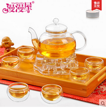 600ML heat resistant glass tea set kettle tea set including 6 double wall cups warmer glass