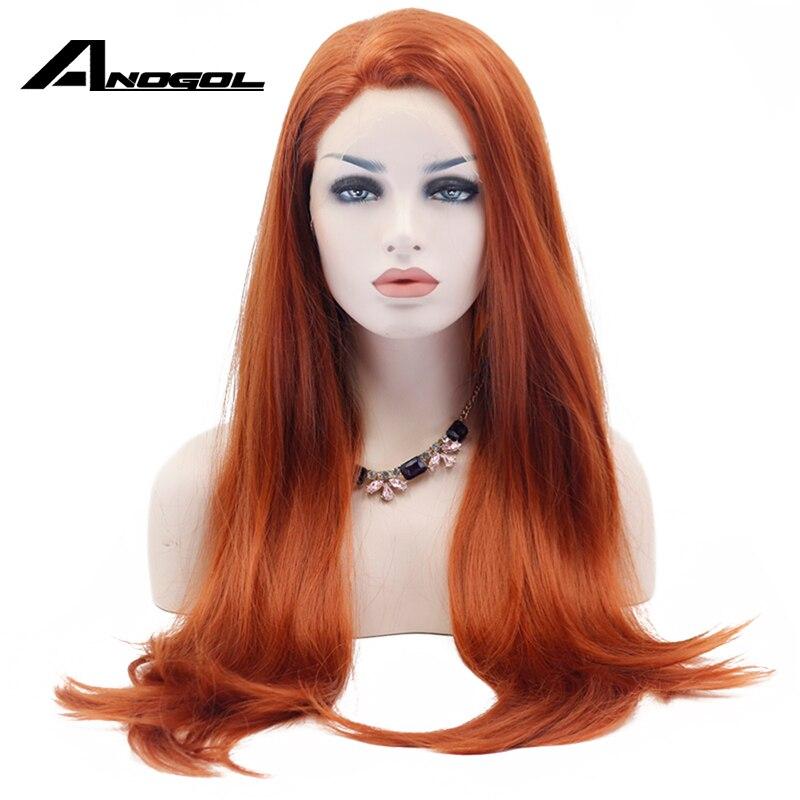 Anogol Длинные природных прямо синтетические Синтетические волосы на кружеве парик бесклеевого Рыжий высокой Температура термостойкие волок...