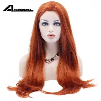 Anogol Lange Natürliche Gerade Synthetische Spitze Vorne Perücke Glueless Auburn Hohe Temperatur Wärme Beständig Faser Haar Frauen Perücken 13*2
