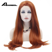 Anogol Long Natural Straight Synthetic Lace Front Wig Glueless Auburn High Temperature Heat Resistant Fiber Hair Women Wigs 13*2