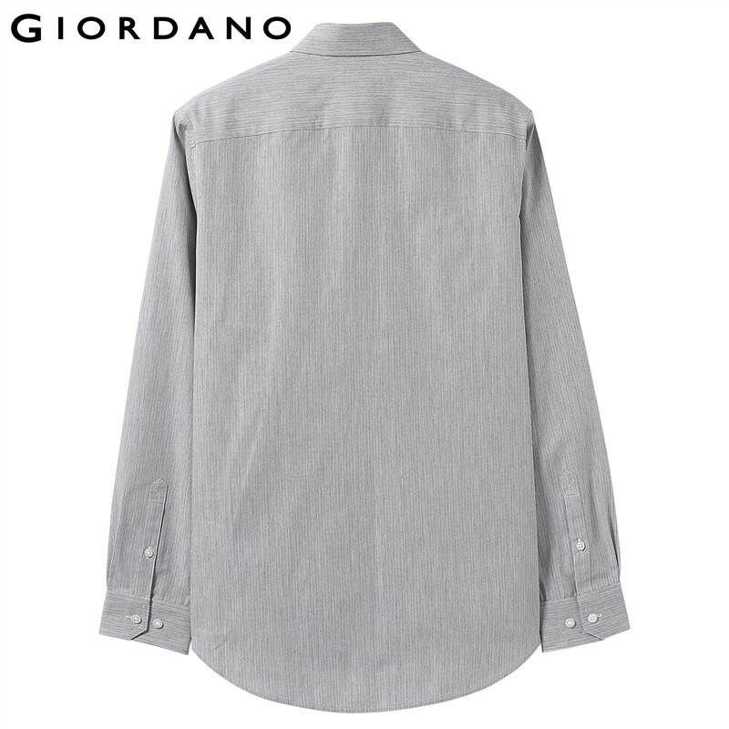 Giordano Men Shirt Long Sleeve Casual Shirts 2-Pack Cotton-Poly Shirts For Men Slim Fit Camisa Masculina White Blusa Shirt