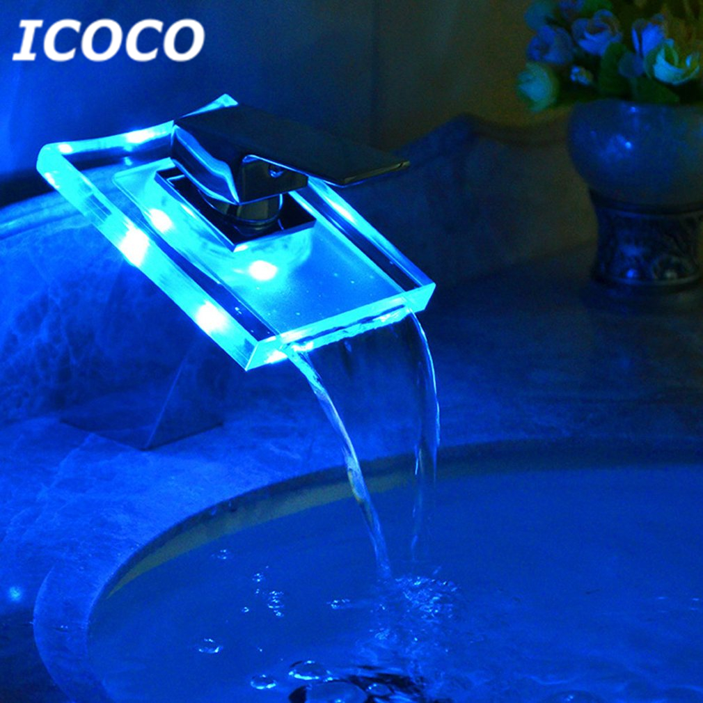ICOCO Temperature Induced Discoloration Bathroom Toilet Basin Faucet LED Light Basin Sink Faucet Single Handle Solid Brass