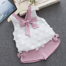 Perfect Angel Toddler Kids Baby Girls Outfits Summer Clothes Bowknot Chiffon T-shirt Vest+Shorts Set 2018 kids girls clothes set toddler clothing set summer boutique girls outfits t shirts shorts sports tracksuits 10 12 14 year