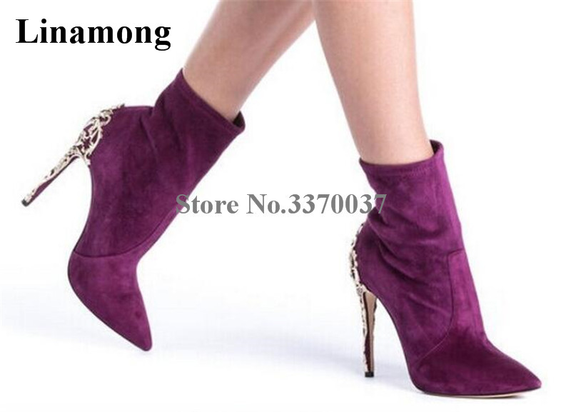 New Fashion Women Pointed Toe Suede Leather Gold Metal Heel Short Boots Thin High Heel Metal Decorated Ankle Boots star decorated metal headband