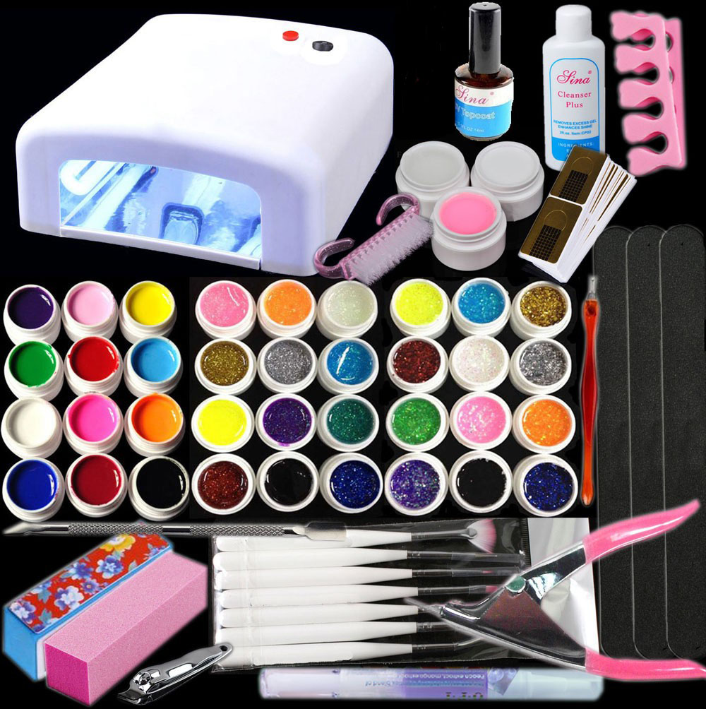 New Pro 36W UV GEL White Lamp & 36 Color UV Gel Nail Art Tools Sets Kits Nail Polish Set Nail Art Tools Brushes Glitter Gel alessandro отбеливающий лак для ногтей pro white glitter nail effect polish сверкающий 10 мл