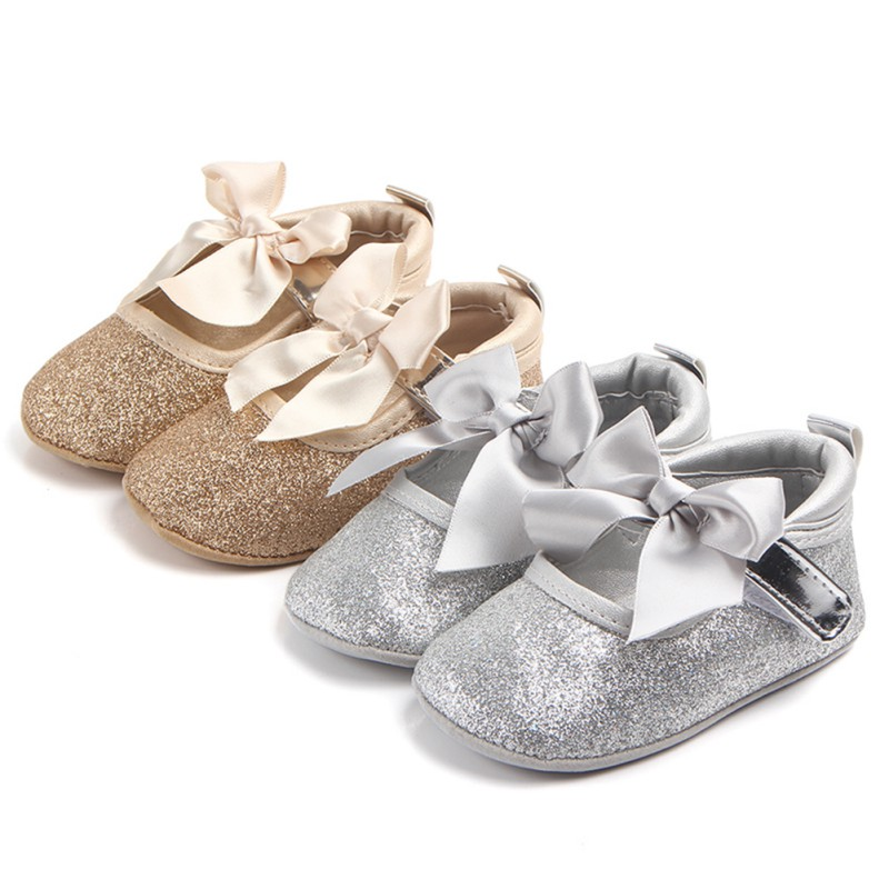 3 Styles Baby Shoes Newborn Girls Ribbon Bow Shallow First Walker Anti Slip Infan Moccasins Golden Silver Shoes Hot Popular #05