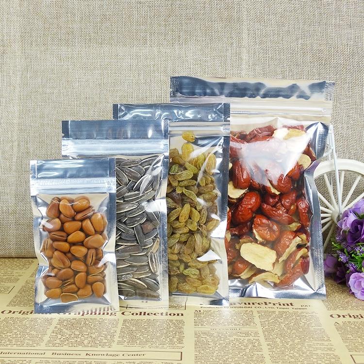 30*40cm,100 X Translucent plating aluminium ziplock bags, Front clear aluminum foil plastic pouch zipper clip reusable food sack