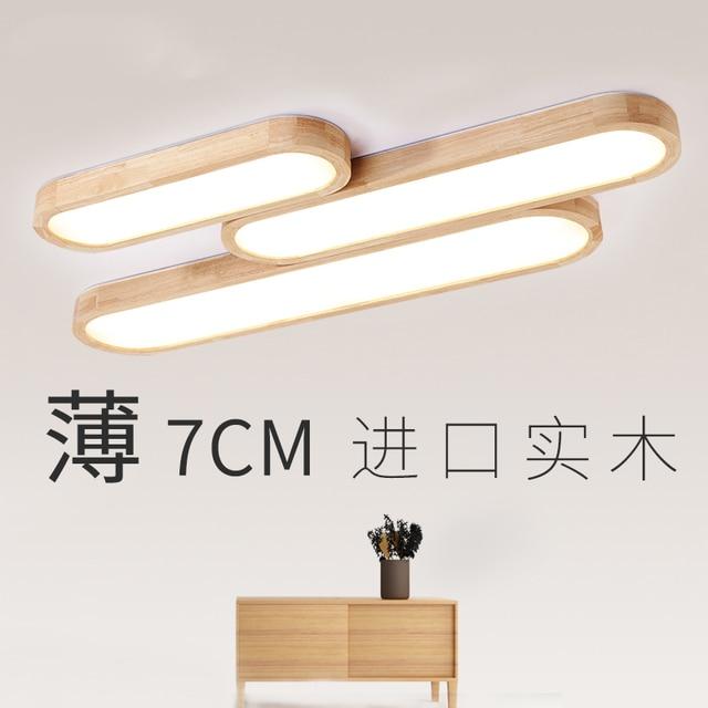 Massief hout woonkamer plafondlamp eenvoudige led lange combinatie ...