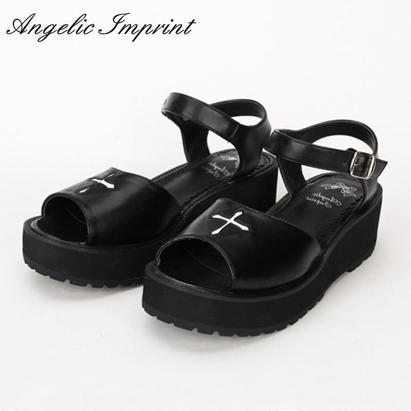 2016 Summer New Arrivals Gothic Punk Lolita Sandals Black Leather Cross Wedge Platform Sandal Shoes