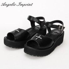 2016 Summer New Arrivals Gothic Punk Lolita Sandals Black Leather Cross Wedge Pl