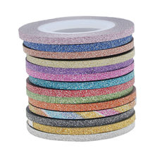 1mm 12 kleur Glitter Nail Stripin Lijn Tape Sticker Set Art Decoraties DIY Tips Voor Polish Nail Gel Rhinestones decorat 2018 HOT(China)