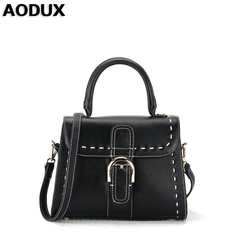 AODUX 2017 New First Layer Genuine Leather Small Women Handbags Ladies Real Top Leather Female Ladies Messenger Bag Hobo Satchel bag female new genuine leather handbags first layer of leather shoulder bag korean zipper small square bag mobile messenger bags